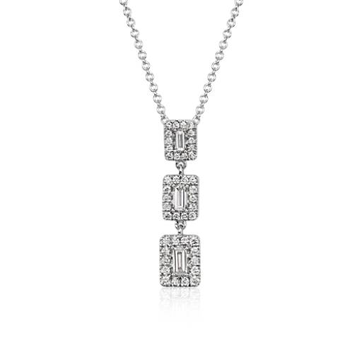 Baguette Diamond Triple Halo Necklace in 14k White Gold