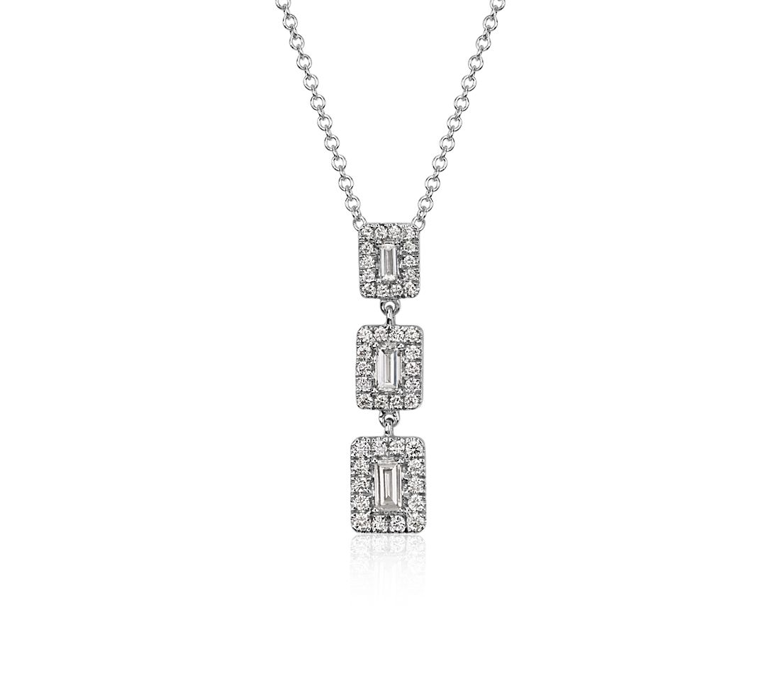 Collier triple halo diamant baguette en or blanc 14 carats (3/8 carats, poids total)