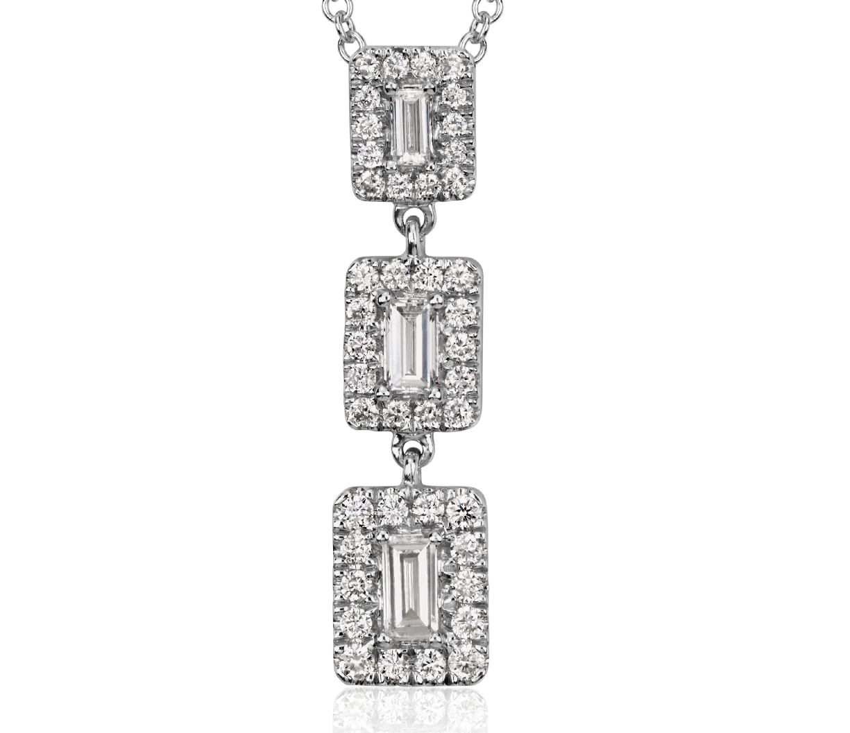 Baguette Diamond Triple Halo Necklace in 14k White Gold (1/4 ct. tw.)