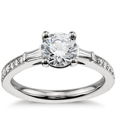 Tapered Baguette and Pavé Diamond Engagement Ring in Platinum