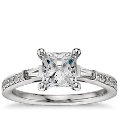 Princess-Cut Baguette and Pavé Diamond Engagement Ring in Platinum