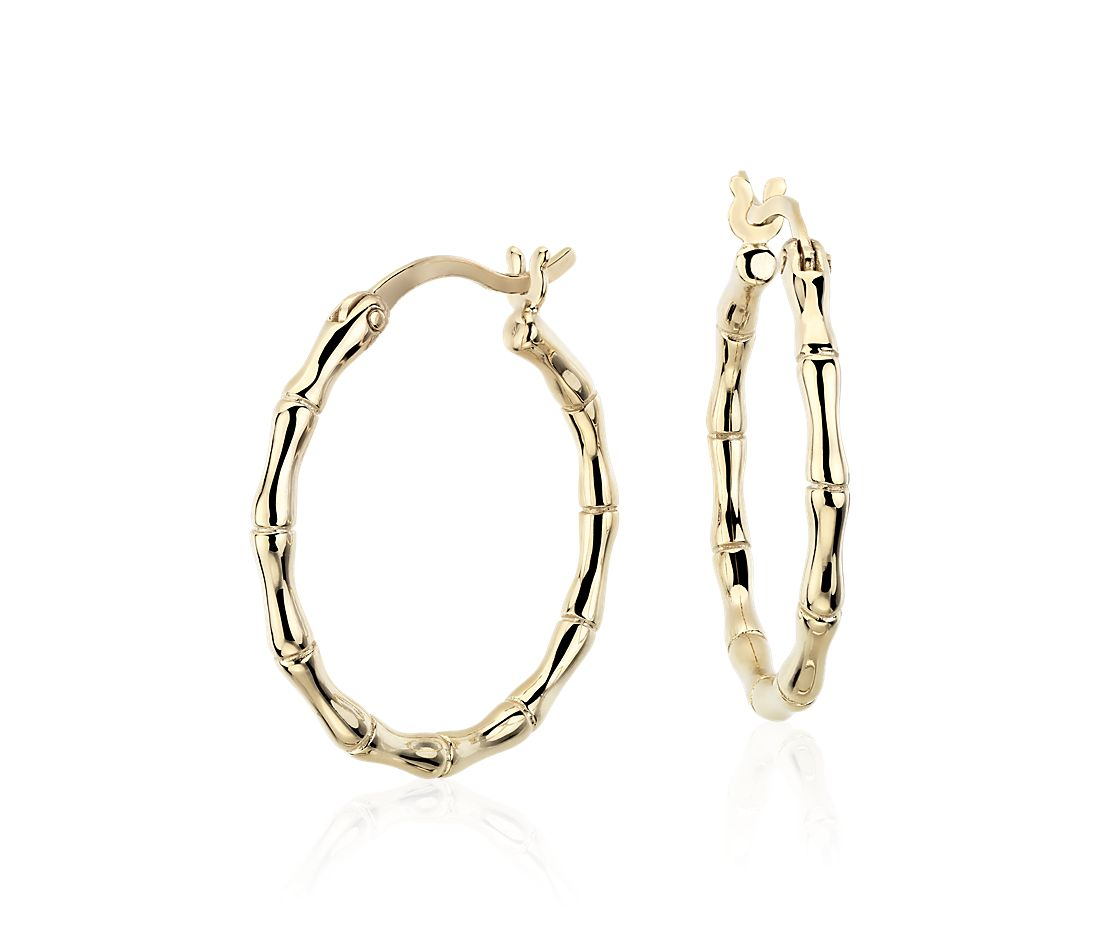 bamboo hoop earrings in 14k yellow gold 11 16 quot blue nile