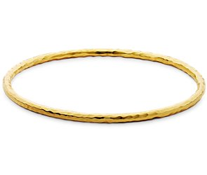 Hammered Bangle Bracelet in 14k Gold