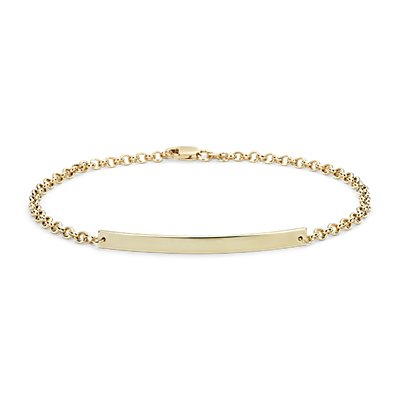 Engraveable Bar Bracelet in 14k Yellow Gold
