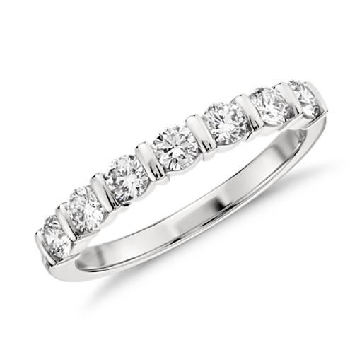 Bague diamant sertie barre en platine (1/2carat, poids total)