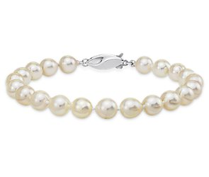 Baroque Akoya Cultured Pearl Bracelet with 14k White Gold (6.5-7mm)
