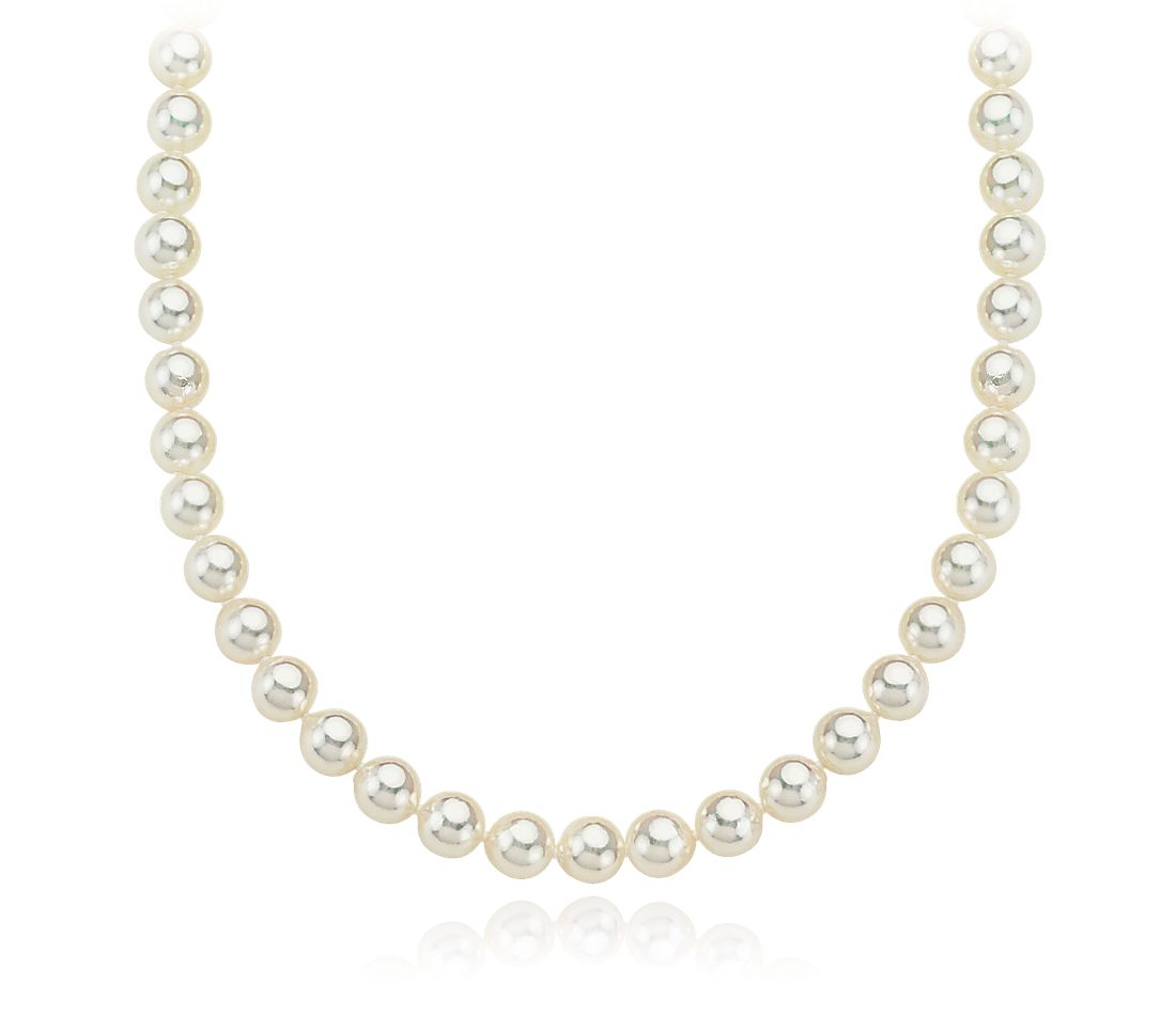 "Baroque Akoya Cultured Pearl Necklace with 14k White Gold (6.5-7mm) 36"" Long"