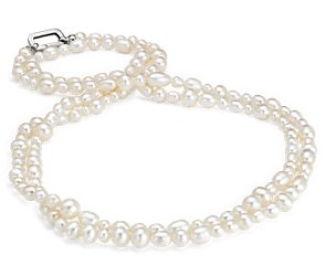 Baroque Freshwater Cultured Pearl Strand Necklace in Sterling Silver - 60