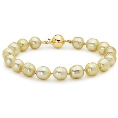 Baroque Golden South Sea Pearl Bracelet with 18k Yellow Gold