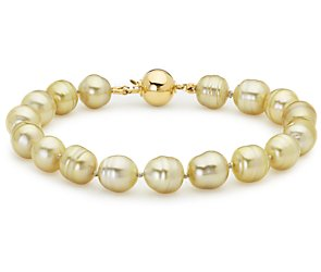 Baroque Golden South Sea Cultured Pearl Bracelet with 18k Yellow Gold