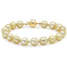 Bracelet de perles des mers du Sud dorées baroques en or jaune 18carats (8,9 mm)