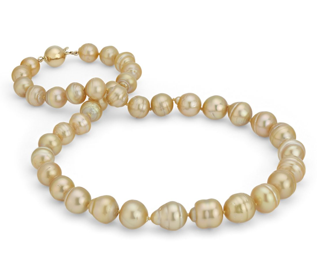 Baroque Golden South Sea Cultured Pearl Necklace in 18k Yellow Gold (8.9-11mm)