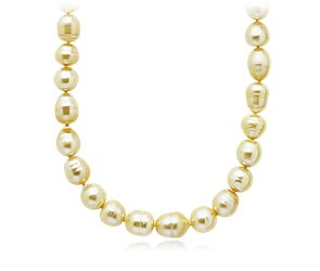 Baroque Golden South Sea Necklace with 18k Yellow Gold