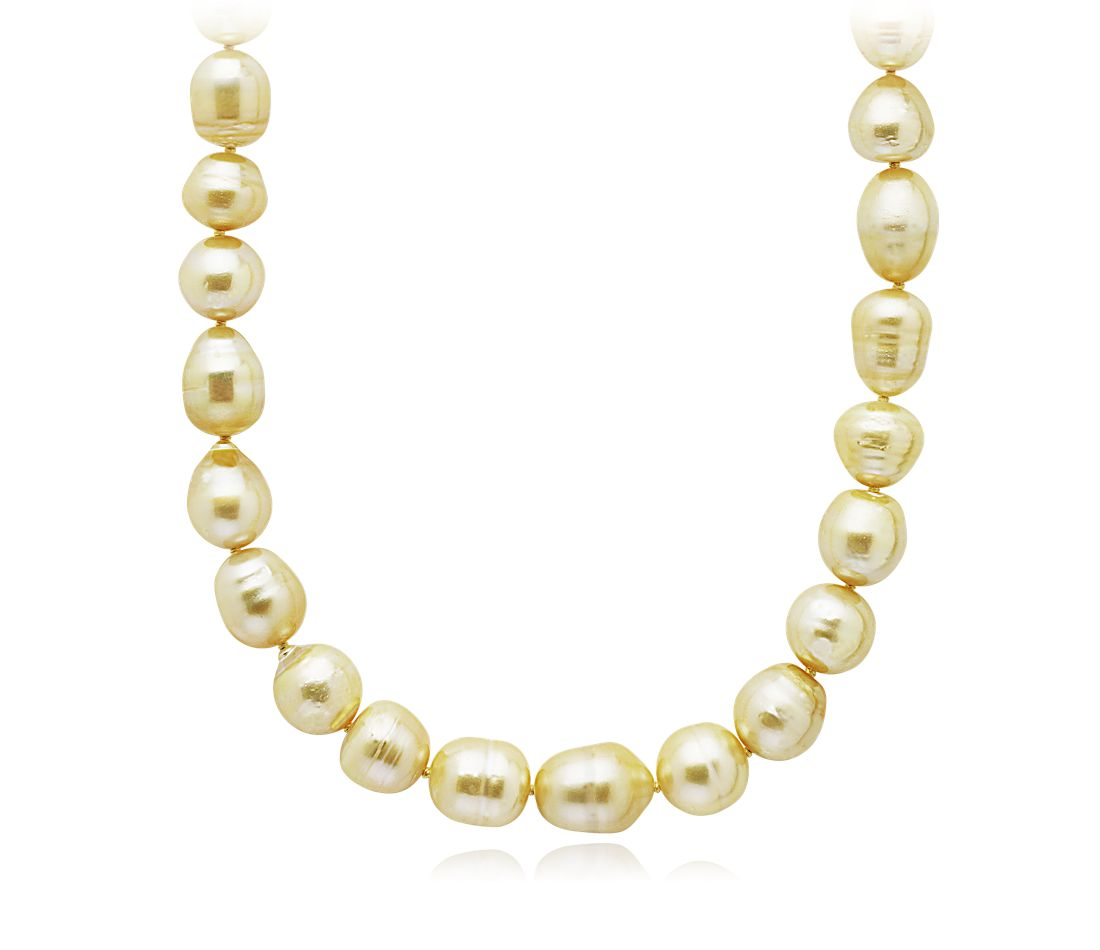 Baroque Golden South Sea Cultured Pearl Necklace in 18k Yellow Gold