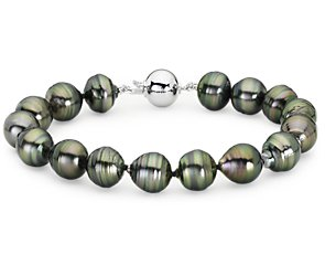 Baroque Tahitian Cultured Pearl Bracelet with 18k White Gold