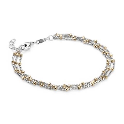 NOUVEAU Bracelet à rangées de perles bicolores en argent sterling et Or jaune 14carats