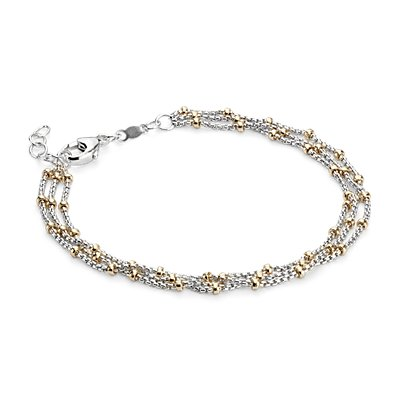 Two-Tone Layered Bead Station Bracelet in Sterling Silver and 14k Yellow Gold