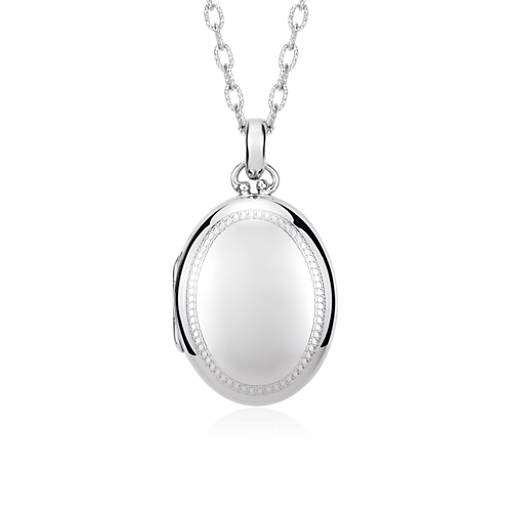 Heirloom Beaded Edge Oval Locket in Sterling Silver