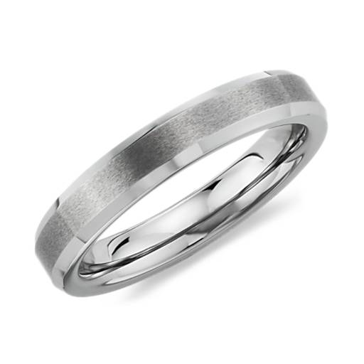 Beveled Edge Matte Wedding Ring in Gray Tungsten Carbide (4mm)