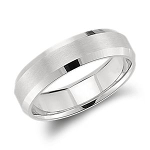 Beveled Edge Matte Wedding Ring in Platinum (6mm)