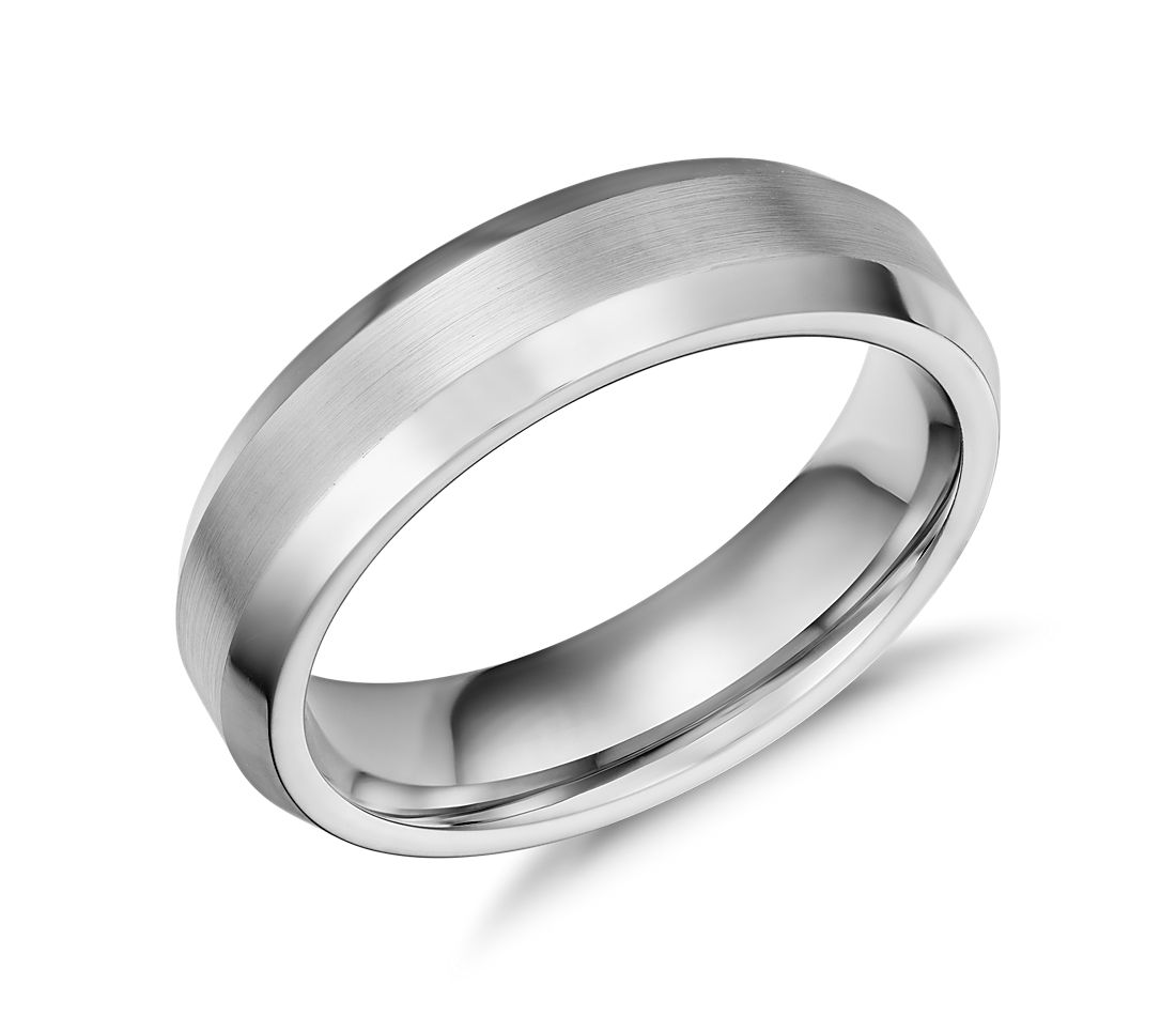 Beveled Edge Matte Wedding Ring in Cobalt (6mm)