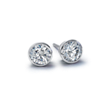 Bezel Cup Earrings in 14k White Gold