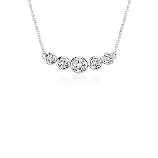 Bezel Bar Diamond Necklace in 18k White Gold