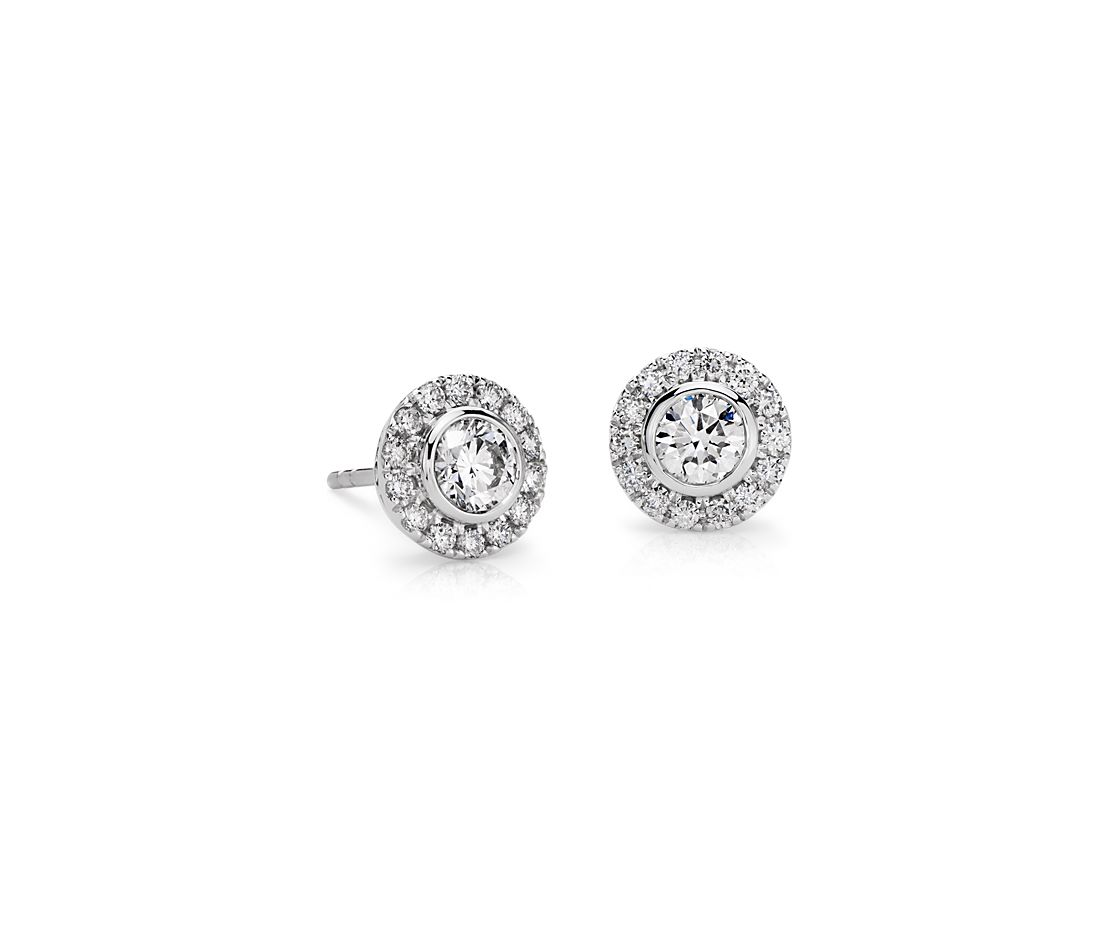 Bezel-Set Halo Diamond Earrings in 14k White Gold