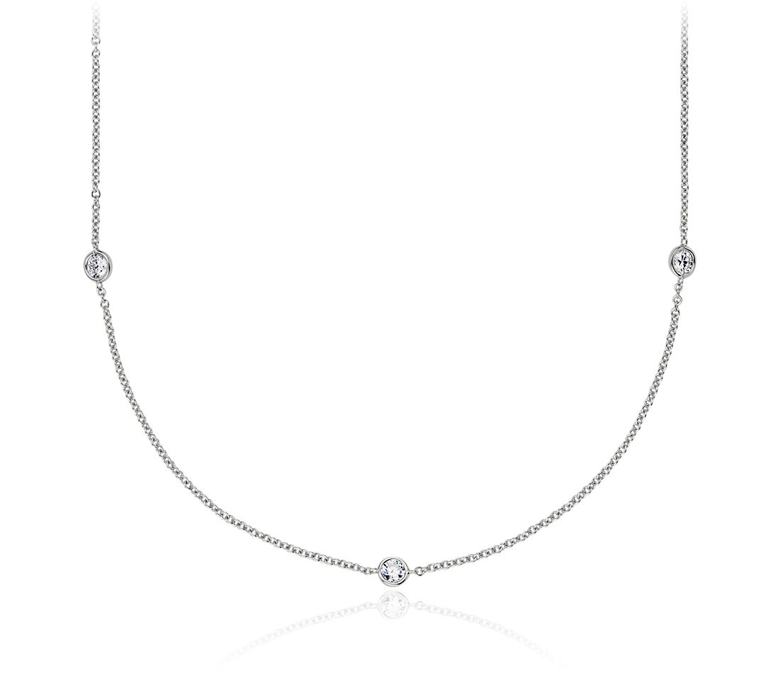 Bezel-Set Diamond Necklace in 14K White Gold (3/4 ct. tw.)