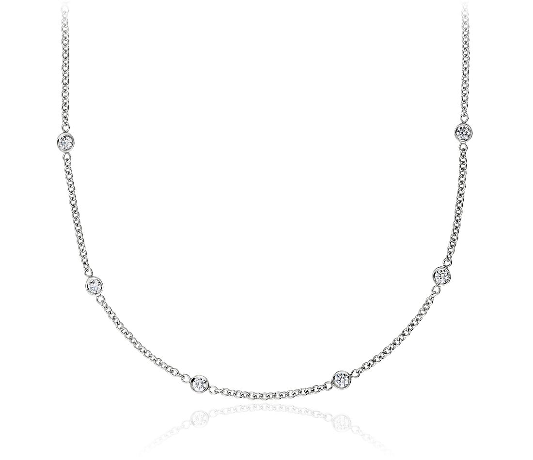 Diamond Bezel Necklace in 18k White Gold (1 ct. tw.)