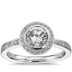 Bezel-Set Halo Pavé Diamond Engagement Ring in Platinum (1/2 ct. tw.)