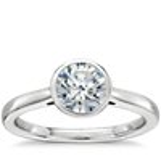 Bezel Set Solitaire Engagement Ring  in 14k White Gold