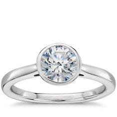 Bezel Set Solitaire Engagement Ring in Platinum