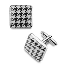 Black and White Houndstooth Cuff Links