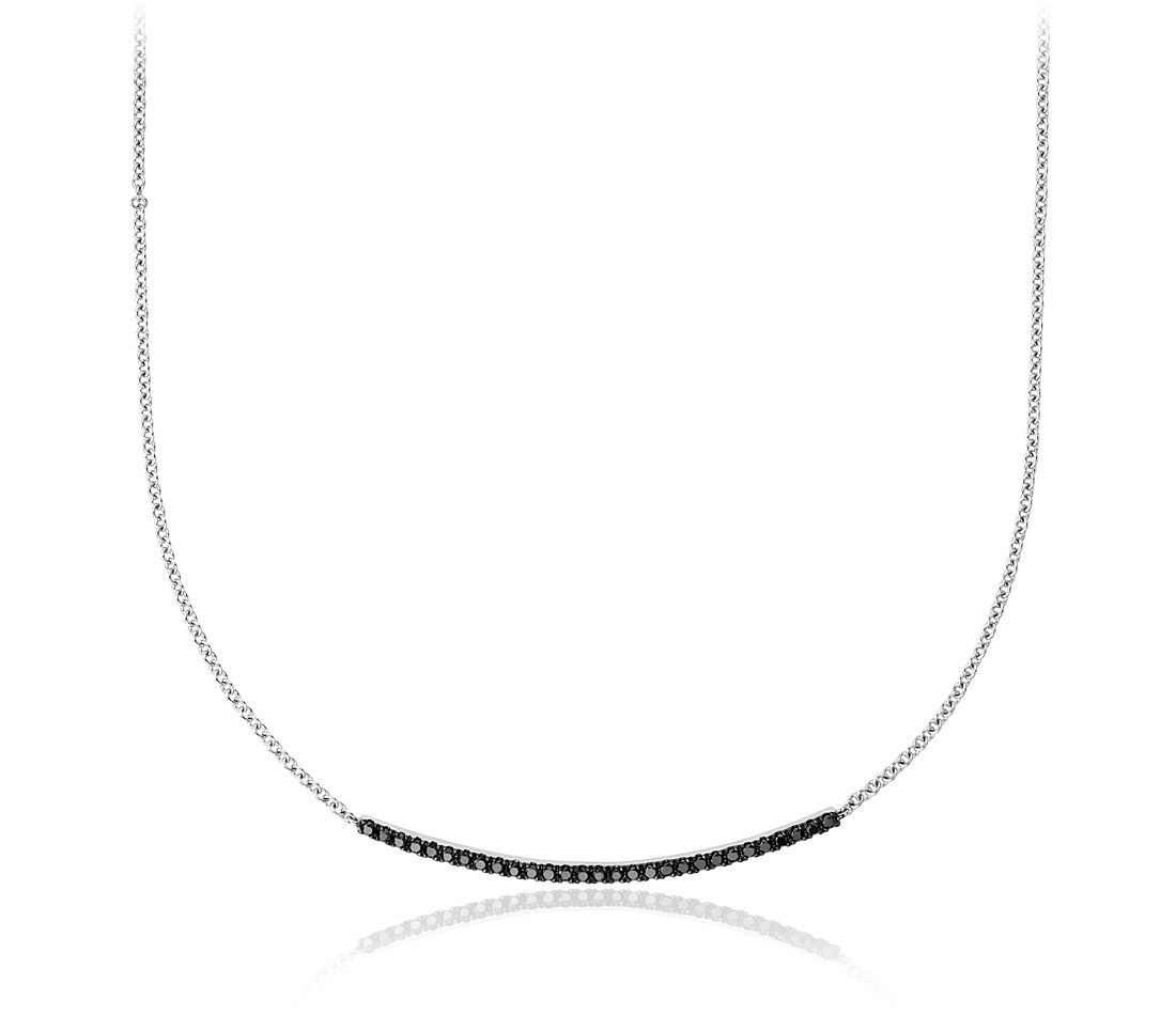 Black Diamond Bar Necklace in 14k White Gold