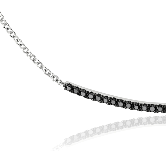Collier barre de diamants noirs en or blanc 14 carats