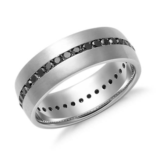 Alianza de diamante negro con montura de canal en oro blanco de 14k (6mm)