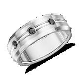 Matte Black Diamond Wedding Ring in Cobalt (7.5mm)