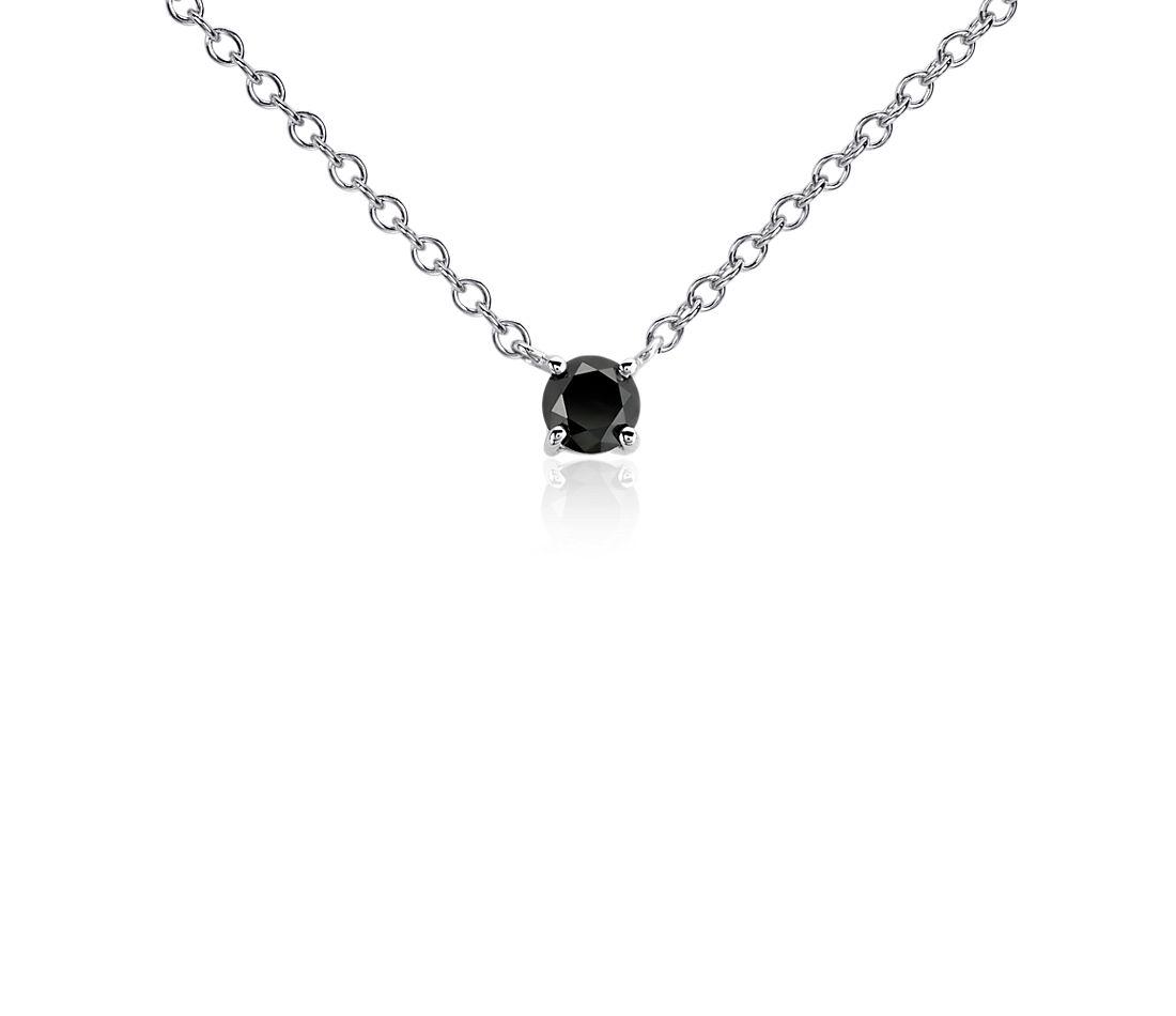 Colgante de diamante negro en plata de ley (1/2 qt. total)