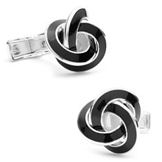 Black Enamel Knot Cuff Links in Sterling Silver
