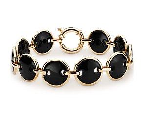 Black Onyx Link Bracelet in 14k Yellow Gold