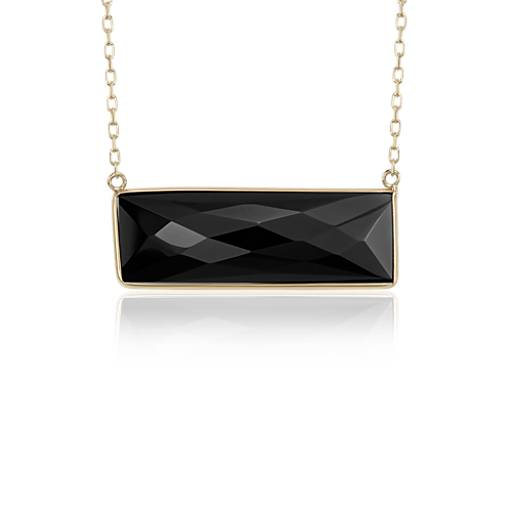 NEW Black Onyx Bezel Bar Necklace in 14k Yellow Gold (9x28mm)