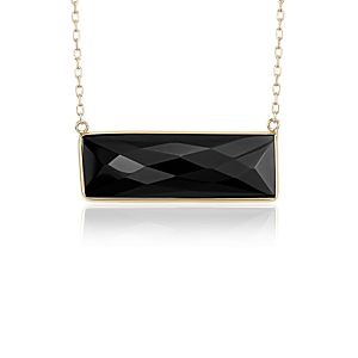 Black Onyx Bezel Bar Necklace in 14k Yellow Gold (9x28mm)
