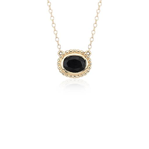 Black Onyx Bezel Necklace in 14k Yellow Gold (8x6mm)