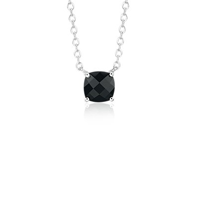 NEW Black Onyx Cushion Pendant in Sterling Silver (8mm)