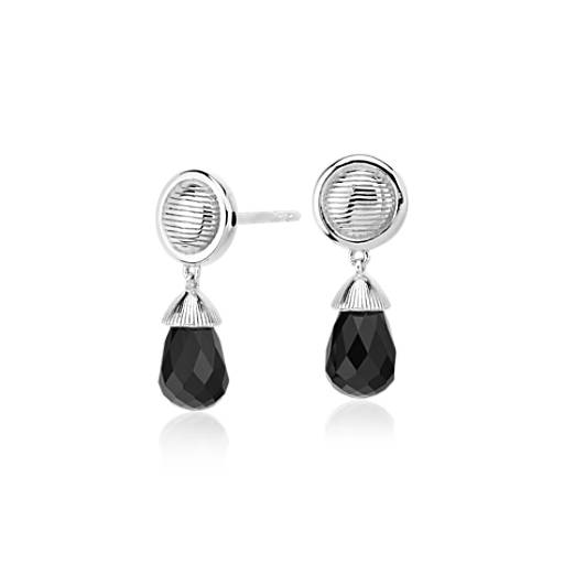Frances Gadbois Disc Black Onyx Drop Earring in Sterling Silver (8x5mm)