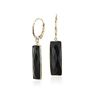 Black Onyx Rectangle Leverback Earrings in 14k Yellow Gold (7x21mm)