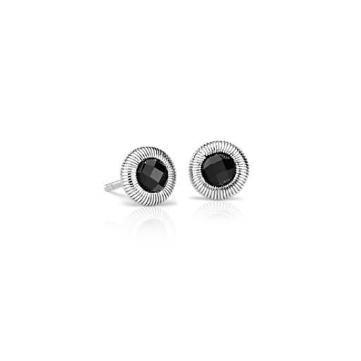 Frances Gadbois Puces d'oreilles en onyx noir en argent sterling (4mm)