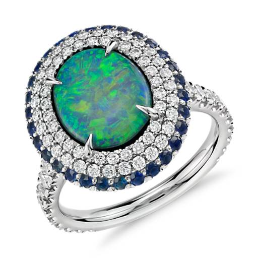 Black Opal and Diamond and Sapphire Halo Ring in Platinum
