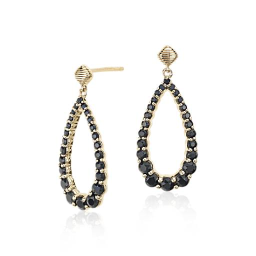 Frances Gadbois Black Sapphire Open Teardrop Earrings in 14k Yellow Gold